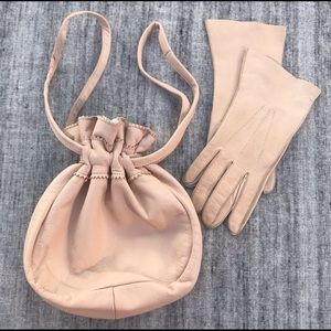 Vintage 50's Leather Satchel & Driving Gloves